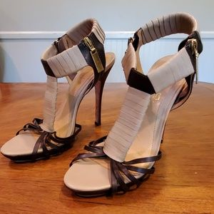 L.A.M.B. strappy leather heels